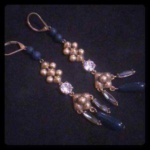 J. Crew rhinestone and blue bead dangly earrings